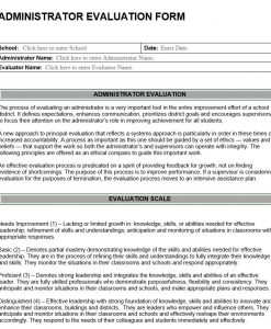 Administrator Evaluation Form
