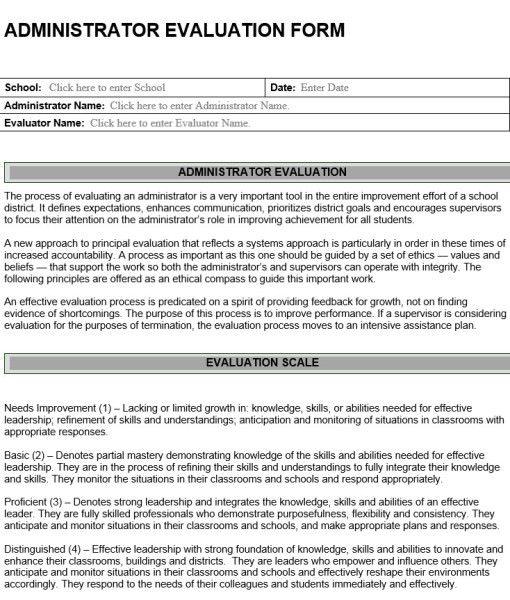 Administrator Evaluation Form – Leadership Evaluation Form