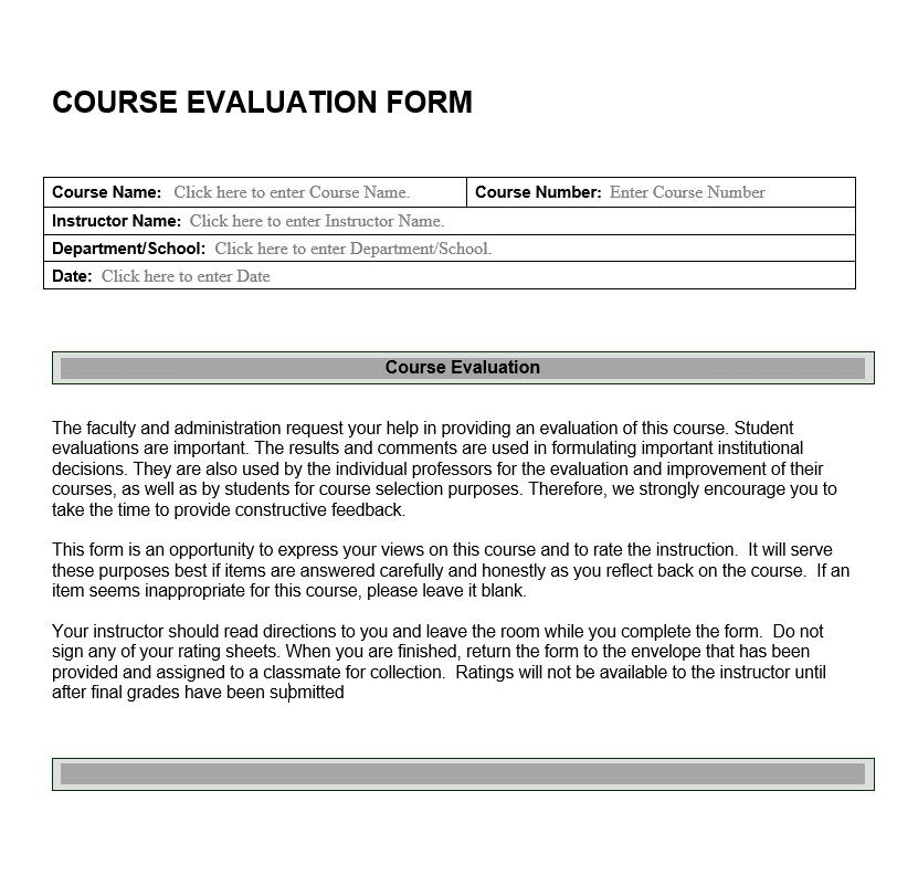 Course Evaluation Form | Review Of Instructor, Course And Materials