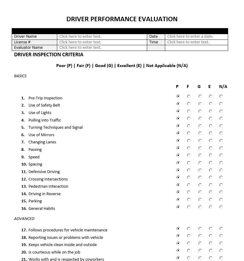 Driver Performance Evaluation Form | Evaluation Forms