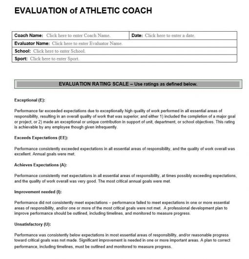 Evaluation of Athletic Coach