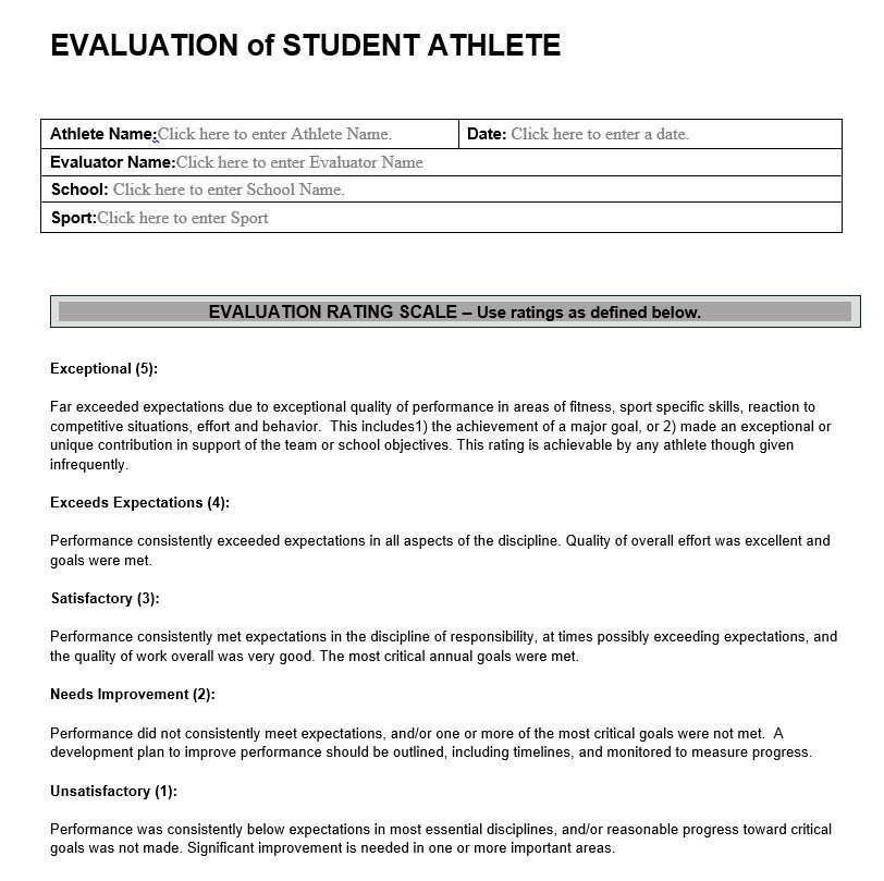 Evaluation Of Student Athlete  Performance Appraisal Forms Samples