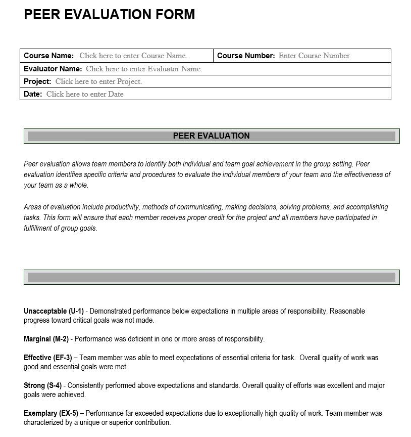 Peer Evaluation Form  Learning Assessment Tool  Review Form