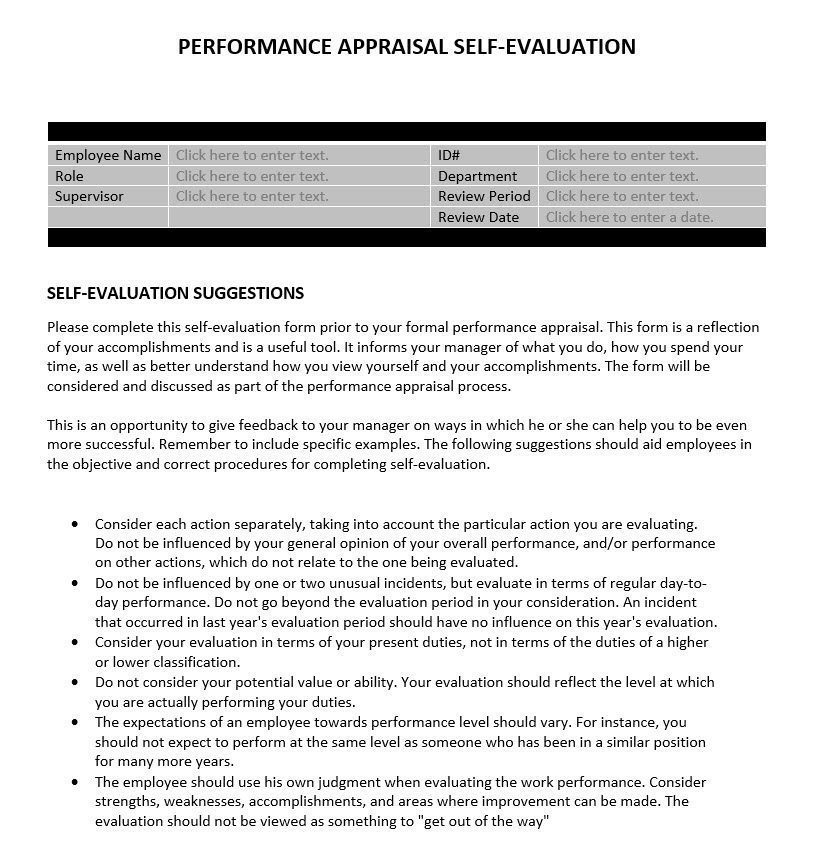 Performance Appraisal SelfEvaluation – Self Performance Evaluation