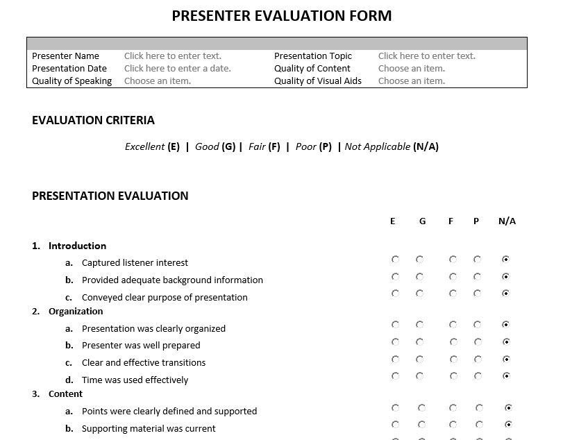 Presenter evaluation form feedback form for speakers and for Presenter evaluation form template