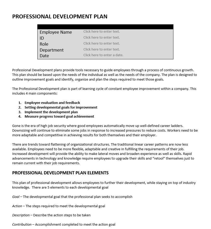Professional Development Plan  Performance Tools