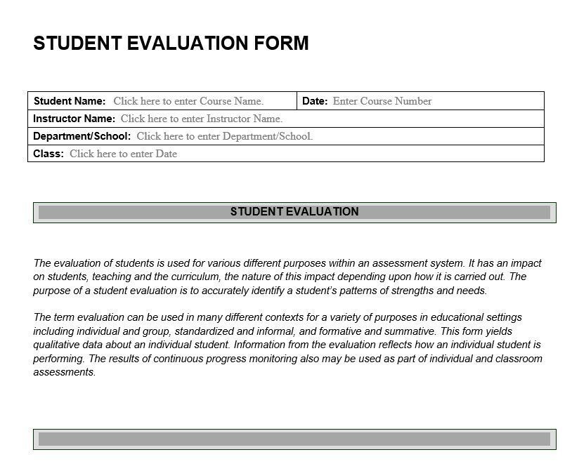 Student Evaluation Form  Feedback On Student Learning Abilities