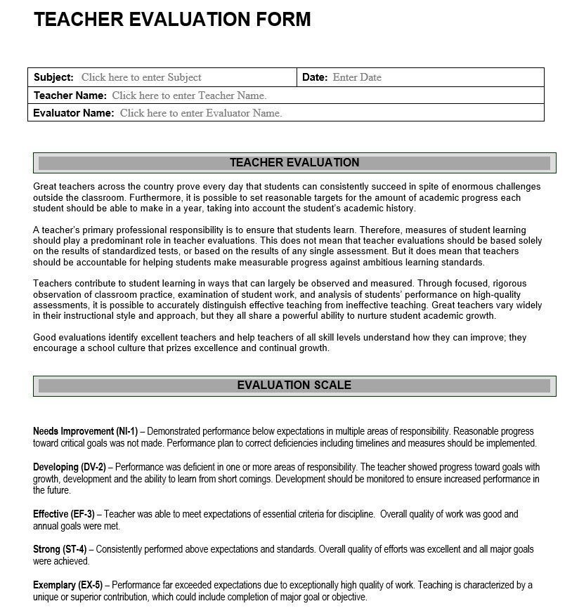 Teacher Evaluation Form  Assessment Of Teacher Effectiveness